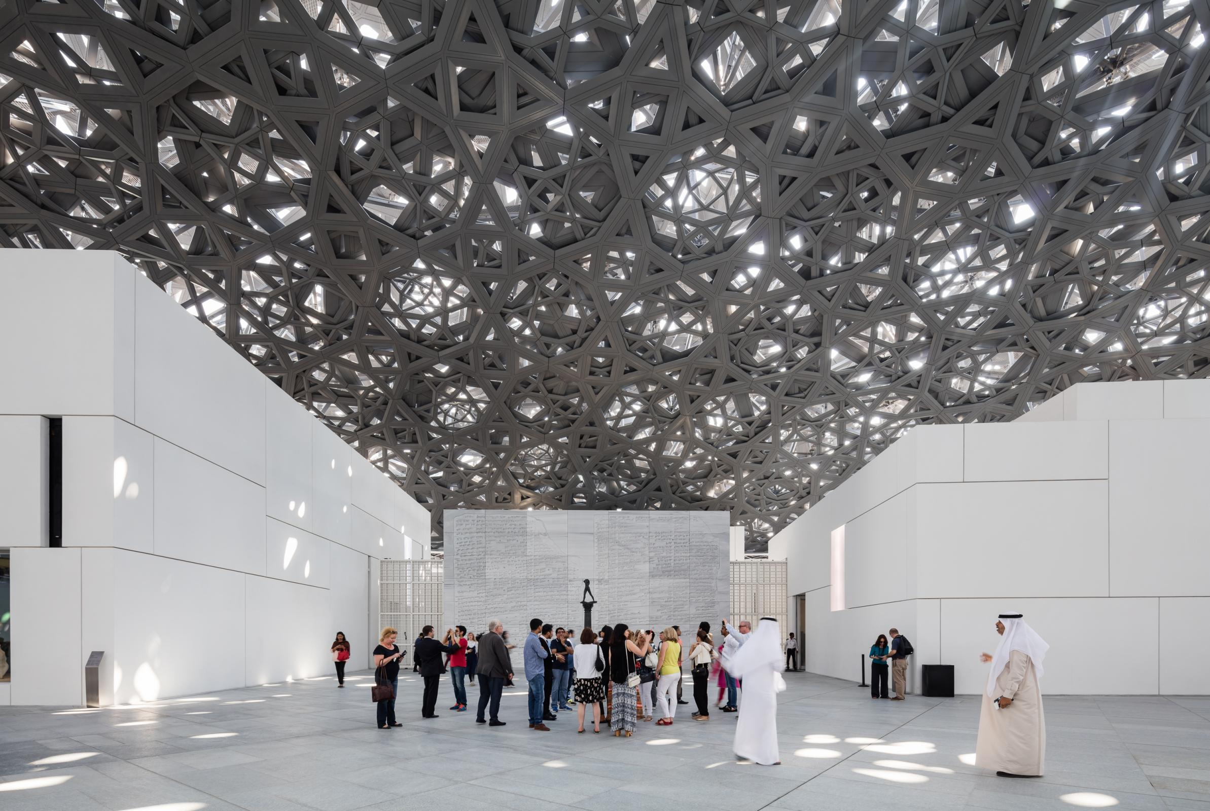 Photograph of Louvre Abu Dhabi, designed by Ateliers Jean Nouvel and located in Abu Dhabi, United Arab Emirates