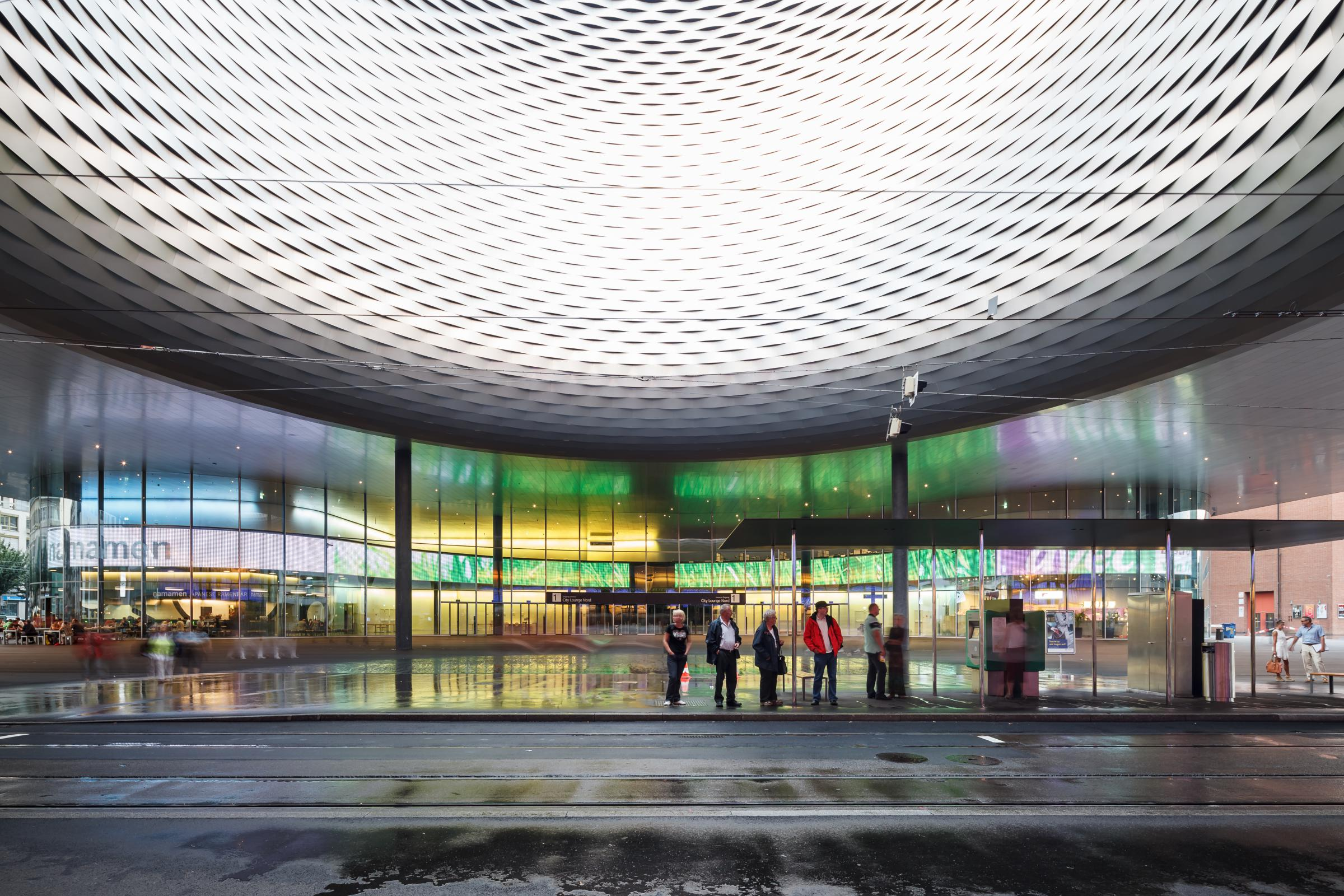 Photograph of Messe Basel New Hall, designed by Herzog & de Meuron and located in Basel, Switzerland
