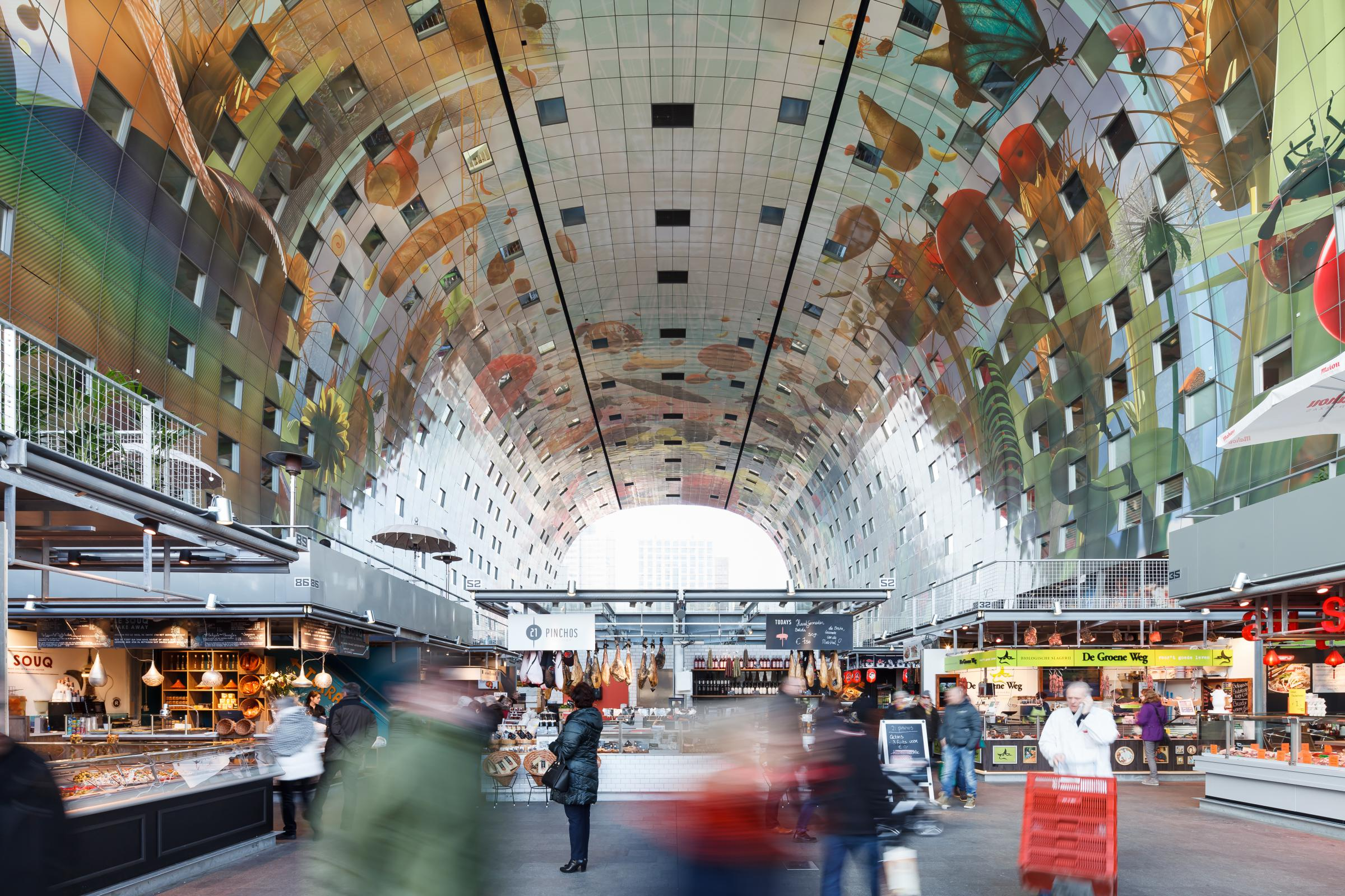 Photograph of Markthal Rotterdam, designed by MVRDV and located in Rotterdam, Netherlands