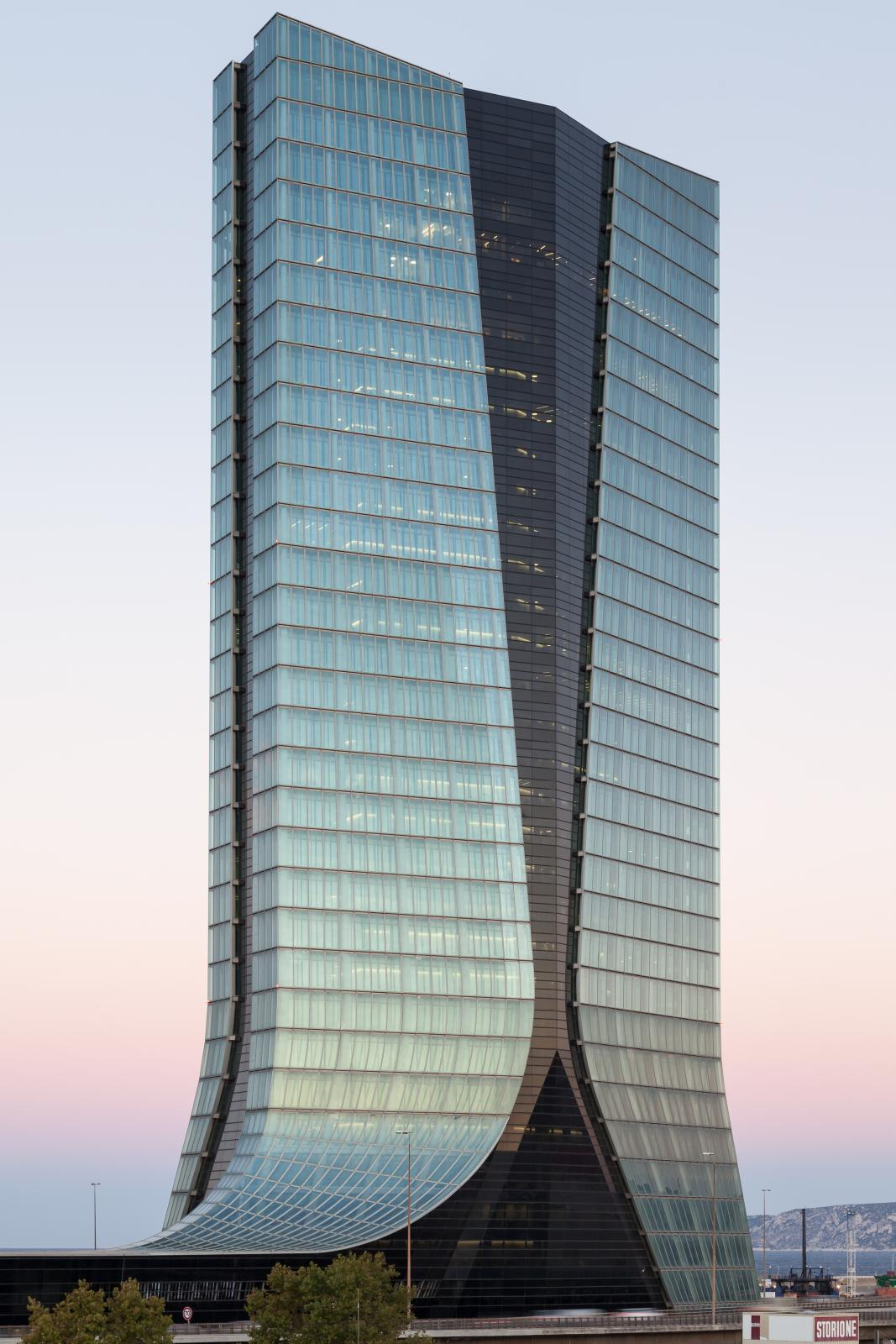 Photograph of CMA CGM Headquarters, designed by Zaha Hadid Architects and located in Marseille, France