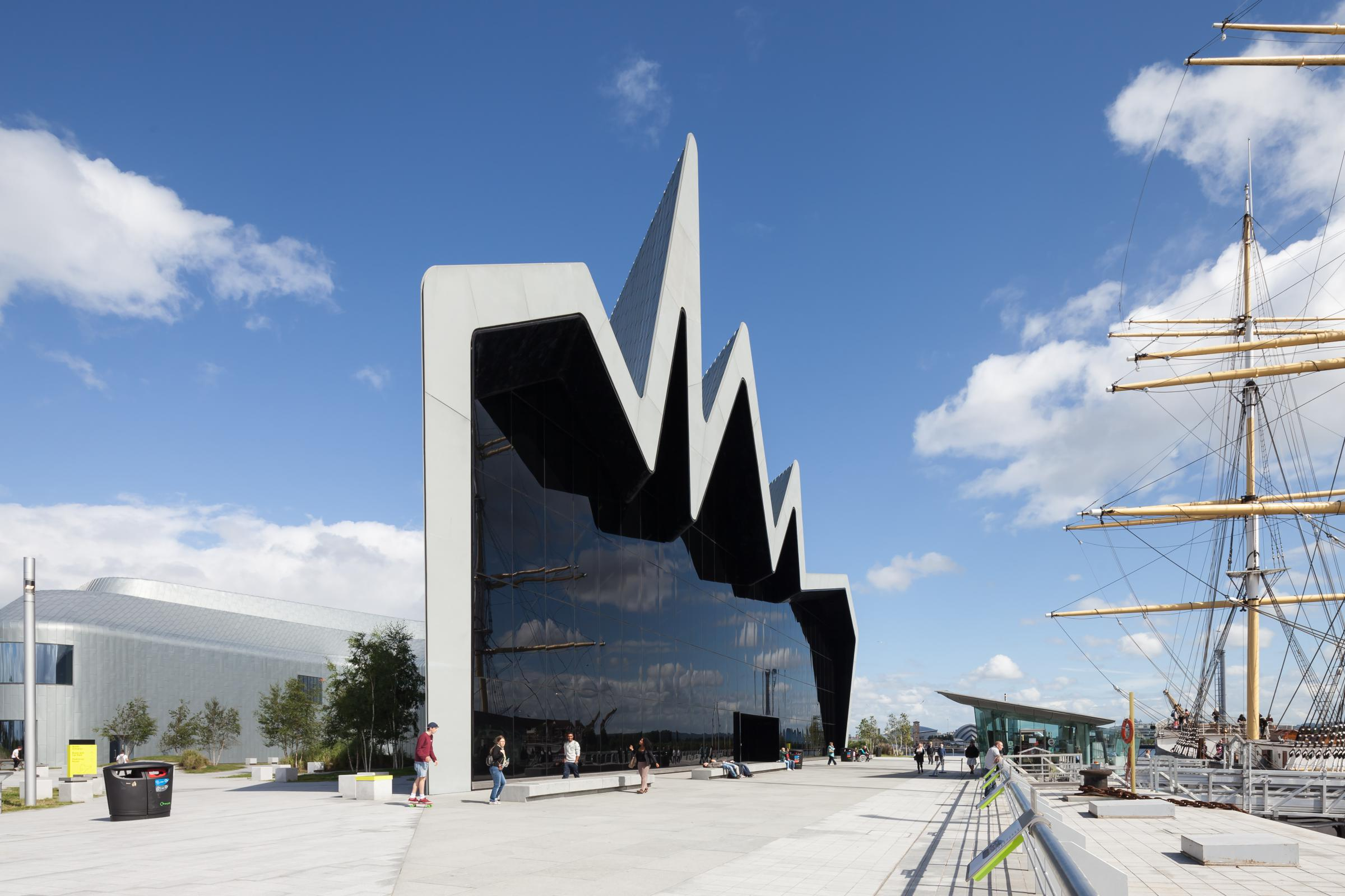 Photograph of Riverside Museum of Transport, designed by Zaha Hadid Architects and located in Glasgow, United Kingdom
